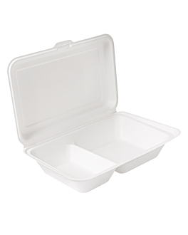 contenitori 2 scomparti 'bionic' 940 ml 25,5x16,5x7 cm bianco bagassa (250 unitÀ)