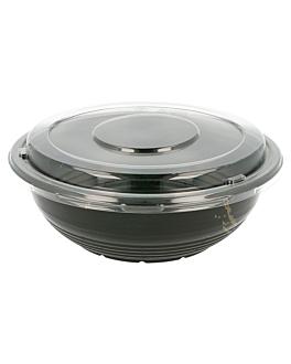 bowls + lids 900 ml Ø 18,6x6,1 cm black pp (400 unit)