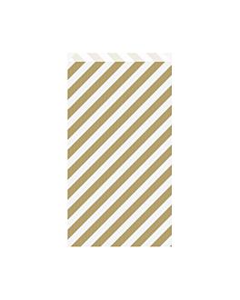 bolsas planas rayas 60 g/m2 19+8x35 cm oro kraft verjurado (250 unid.)