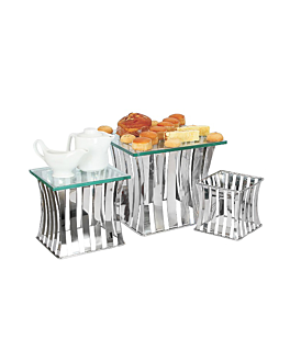 3 u. stand buffet 16/22/26 cm silver stainless steel (1 unit)