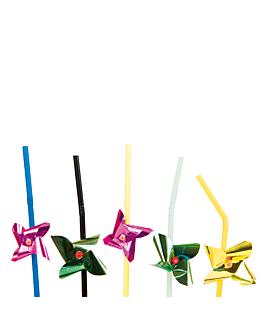 """pajitas decoradas flexibles """"molinillos"""" 24 cm surtido pp (1000 unid.)"""