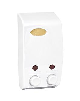 dispensador de jabÓn 2x400 ml 13,7x8x25 cm blanco abs (1 unid.)