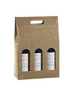 30 u. cajas 3 botellas 27x9x34 cm natural kraft (1 unid.)