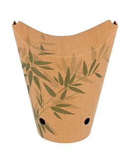 vasos fritas con cierre 'feel green' 16 oz - 480 ml 200 + 25pe g/m2 8,5x14 cm marrÓn cartoncillo (50 unid.)