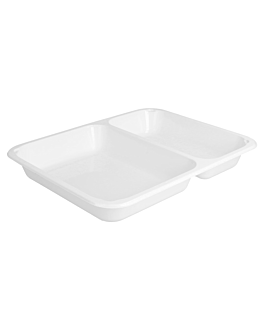 microwaveable tray - 2 compartments 22,5x17,5x3 cm white pp (500 unit)
