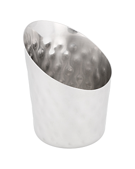 truncated mini tubs for fries, hammered Ø 8,5x8,5 cm silver stainless steel (12 unit)