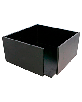 napkin holder 21x21x10 cm black bamboo (1 unit)