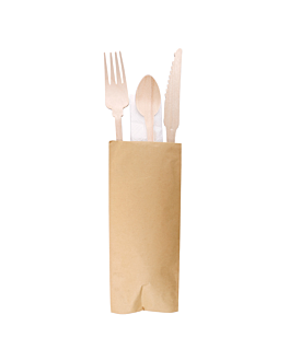sets fork+knife+napkin+coffee spoon 'classic' 20 cm natural wood (100 unit)