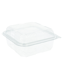 confectionery containers + lid 600 ml 14x14x7,2 cm clear rpet (700 unit)