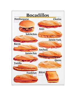 "display ""bocadillos"" - castellano 50,5x70,3 cm blanco pvc (1 unid.)"