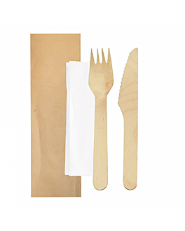 set fork, knife, napkin wrapped kraft 'makan' 16 cm natural wood (100 unit)