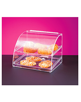 curved cake display 2 levels 40x38x41 cm clear acrylic (1 unit)