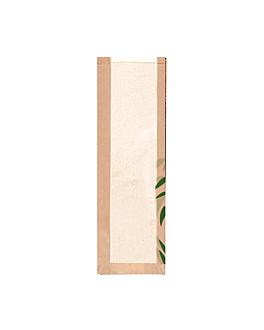 """sacos p/pÃo c/janela """"classic"""" 'feel green' 36 g/m2 14+4x60 cm natural kraft (250 unidade)"""