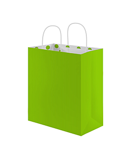 """sos bags with handles - inside """"polka dots"""" 80 gsm 26+14x32 cm aniseed green cellulose (250 unit)"""