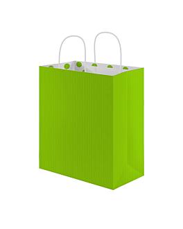"""sacs sos avec anses - int. """"À pois"""" 80 g/m2 26+14x32 cm vert anis cellulose (250 unitÉ)"""