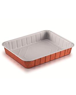 contenedores lacados 1190 ml 22,7x17,7x3,6 cm cobre aluminio (100 unid.)