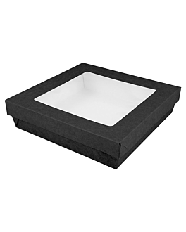 small boxes+lids w/window 750 ml 270 + 18 pe gsm 14x14x5 cm black cardboard (250 unit)