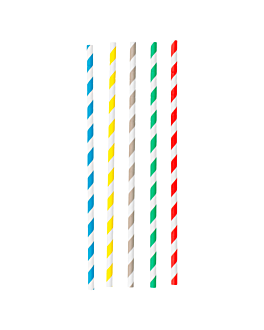 pajitas flexibles a rayas Ø0,60x23 cm surtido papel (250 unid.)