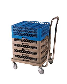 carrello da trasporto cestelli 54x54x81 cm beige abs (1 unitÀ)