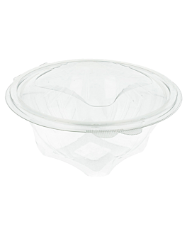 salad bowls with hinged lids 750 ml Ø 14,8x9,7 cm clear rpet (400 unit)