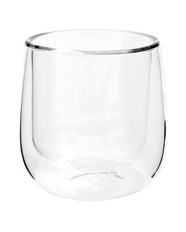 mini vasos doble pared 75 ml Ø 5x5 cm transparente cristal borosilicato (24 unid.)