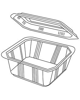 barquillas + tapas microondables 2 l 22,5x17x9 cm transparente pp (200 unid.)