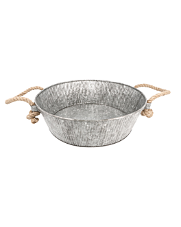 round tray with rope handles Ø 35,5x11 cm galvanized steel (1 unit)