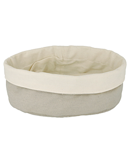 bread baskets cream/grey Ø 20x9,5 cm cotton (12 unit)
