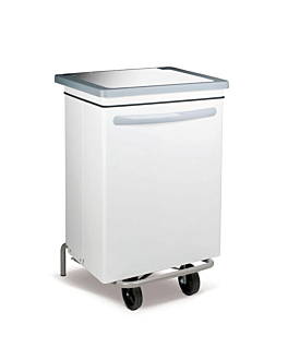 mobile push pedal container 70 l 47x42x73 cm white metal (1 unit)
