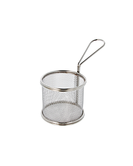 round mini fryers Ø 9x8 cm silver stainless steel (6 unit)