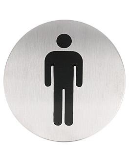 """placa autoadesivas """"homens"""" Ø 7,5 cm prateado inox (1 unidade)"""