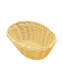 oval baskets imitation wicker 17,8x13x5 cm natural pp (12 unit)