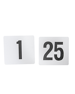 tabletop numbers from 1 to 25 10,2 cm white plastic (1 unit)