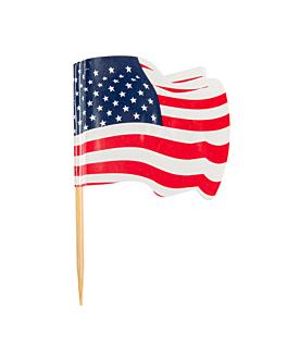 """petits drapeaux """"usa"""" 4x3/6,5 cm assorti bois (144 unitÉ)"""