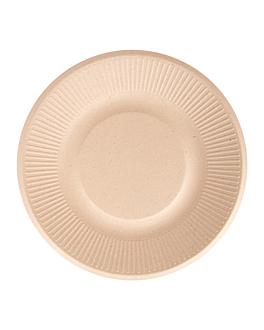 assiettes 'bionic' Ø 21x1,8 cm naturel bagasse (1000 unitÉ)