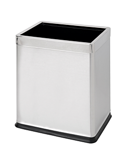 room paperbin, rectangular 'deluxe' 9 l 22,5x16,5x27 cm silver stainless steel (1 unit)