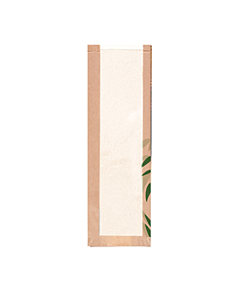 bread bags with eco window 'feel green' 32 gsm 14+4x60 cm natural kraft (250 unit)