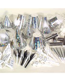 assortiment cotillon holografique 20 personnes  argente (1 unitÉ)