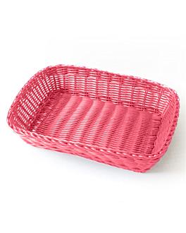 cestas sÍmil mimbre rectangulares 30x22x7 cm fucsia pp (12 unid.)