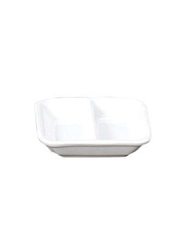recipientes rectangulares 2 comp. 7,5 cm blanco porcelana (12 unid.)
