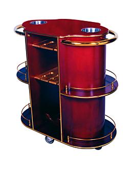 chariot liqueur et vin ovale 94x49x100,5 cm marron rougeatre bois (1 unitÉ)