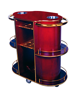 oval drinks trolley 94x49x100,5 cm reddish brown wood (1 unit)