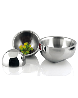 bowl double wall 1100 ml Ø 17x11 cm silver stainless steel (1 unit)