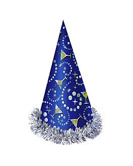 sombreros hologrÁficos cÓnicos 23 (h) cm azul cartoncillo (12 unid.)