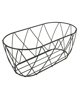 tuscan style basket 25,5x12,7x10,2 cm black steel (12 unit)