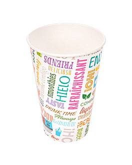 cups 'parole' 16 oz - 480 ml 280 + 18pe gsm Ø9x12,6 cm white cardboard (1000 unit)