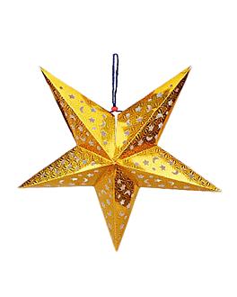 estrellas colgantes Ø 45 cm oro papel (10 unid.)