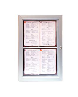 porte menus lumineux 4xdin-a4 52,3x69,5x3,2 cm argente metal (1 unitÉ)