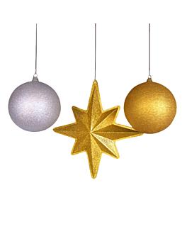 estrella + 2 bolas 55 / 25 cm oro pvc (1 unid.)
