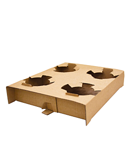 cup tray, 4 cups 360 gsm 21,5x17x3,5 cm natural kraft (200 unit)